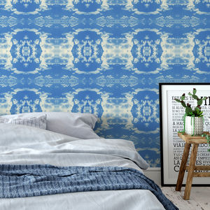 'Cloud Rococo' Wallpaper In Happy Blue - home decorating