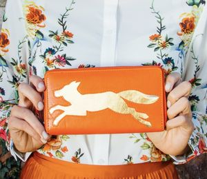 Orange Leather Fox Cut Out Purse
