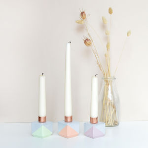 Concrete And Copper Cube Candle Holders Pastel