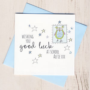 Personalised Owl Good Luck At School Card