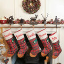 Personalised Red Tartan Patchwork Stocking