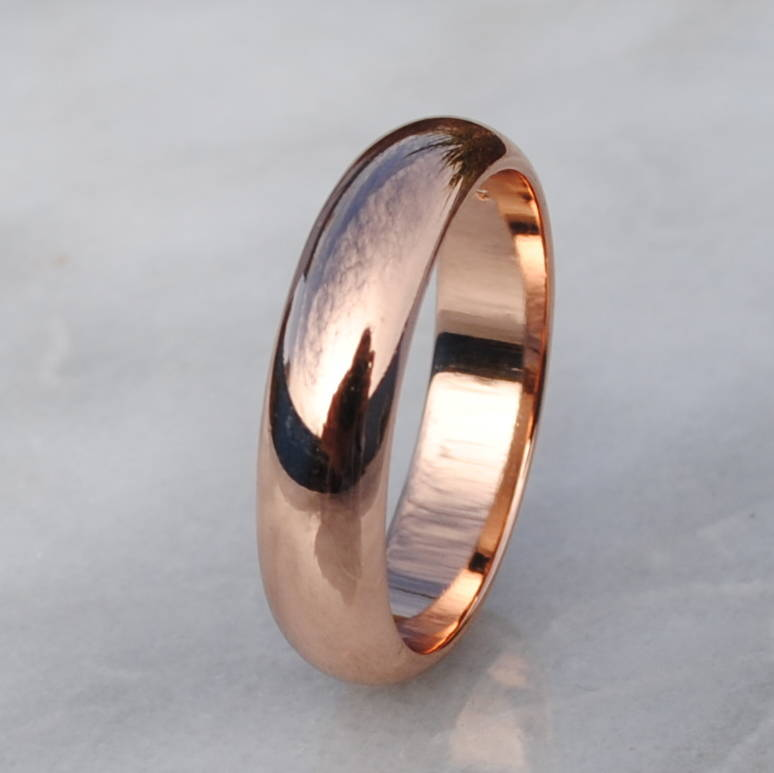 9ct rose gold wide d shape wedding ring - Rose Shaped Wedding Ring