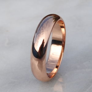 9ct Rose Gold Wide D Shape Wedding Ring - men's jewellery