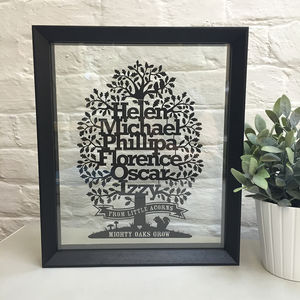 Personalised Family Oak Tree Papercut With Motto