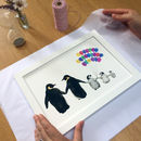 packaging personalised family penguin print
