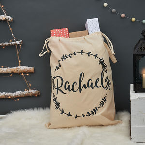 Personalised Christmas Wreath Sack - christmas sale