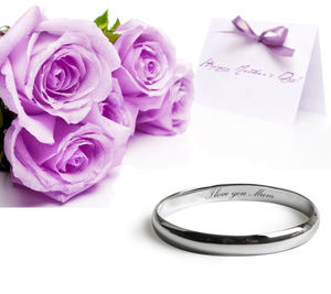 I Love You Mum Silver Bangle - christening jewellery