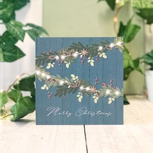 Blue Country Merry Christmas Botanical Greeting Card - new in christmas