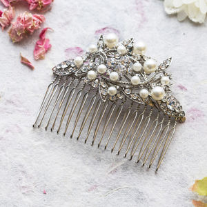 Adelaide Crystal And Pearl Hair Comb - jewellery sale