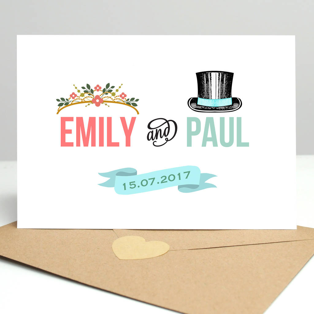 Personalised Wedding Hats Card