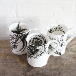 Set Of Three Botanical Fine Bone China Mugs