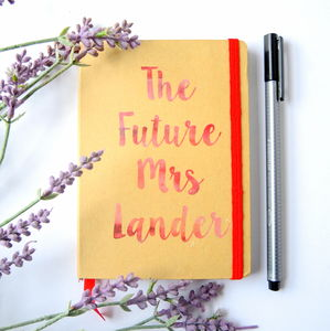 Personalised Future Mrs Wedding Engagement Notebook - hen party gifts & styling