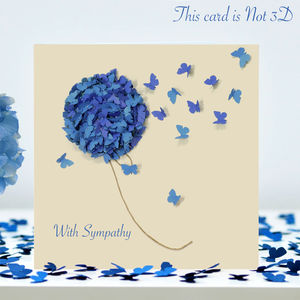 Butterfly With Sympathy Card, Blue Hydrangea Card