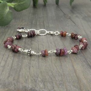 Natural Ruby And Sterling Silver Bracelet