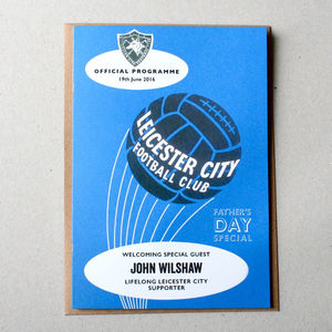 Personalised Football Programme Father's Day Card - father's day cards