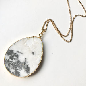 Black And White Jasper Statement Pendant Necklace