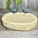 Polystone Bird Bath With Two Resin Birds