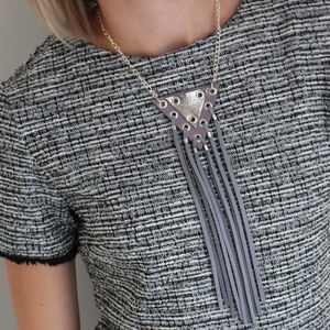 Volt Geometric Leather Tassel Necklace - necklaces & pendants
