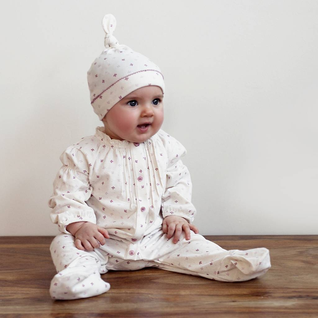 baby girls dainty tulip babygrow and hat gift set by toffee moon ... f2ae6bc8d532