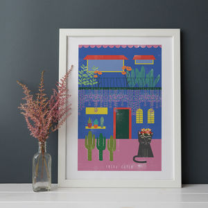 Frida Kahlo Cat House - posters & prints