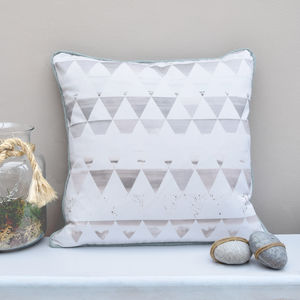 Ink Drawing Geometric Triangles Hand Made Cushion - cushions
