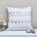 Ink Drawing Geometric Triangles Hand Made Cushion