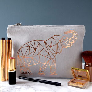 Grey Make Up Bag With Origami Style Animal Print - wash & toiletry bags