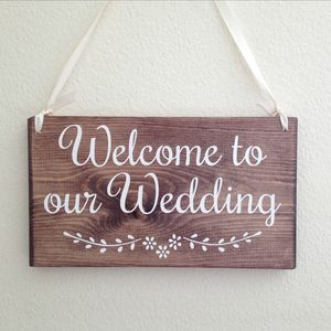 Welcome To Our Wedding Handmade Wooden Sign - room decorations