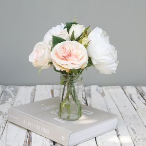 Faux Peony Bouquet In Cream And Apricot - flowers, plants & vases