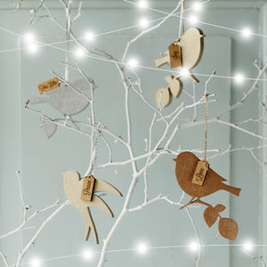 Metallic Wooden Message Birds - tree decorations