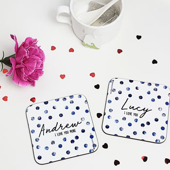 Personalised Dotty Coasters Pair