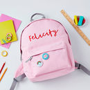 Girls Personalised Name Backpack