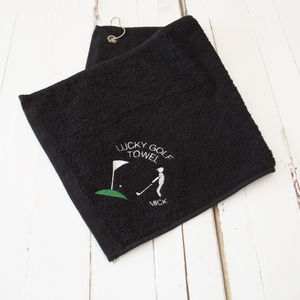 Personalised Lucky Golf Towel Scene