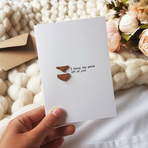 Fancy The Pants Wooden Detail Love Card - original valentine's cards