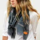 Personalised Woven Check Scarf With Leather Monogram