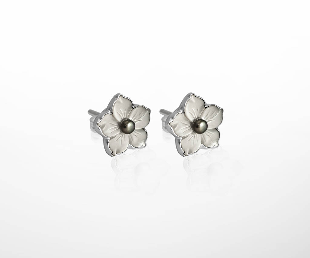 Mother Of Pearl Sterling Silver Flower Earrings