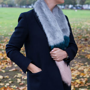 Faux Fur Stole In Grey, Pink And Teal - winter sale