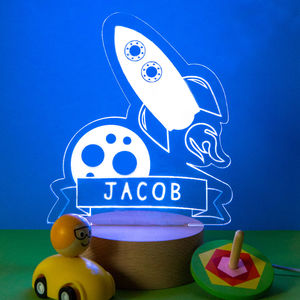 Personalised Nursery Rocket Night Light - children's lighting