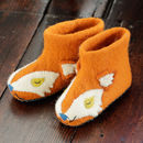 Unisex Orange Fox Face Felt Slippers