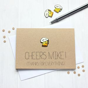 'Cheers Step Dad!' Father's Day Thank You Card