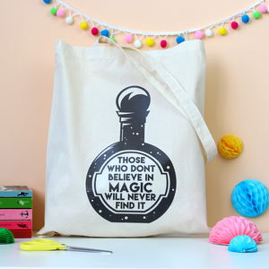 Believe In Magic Quote Tote Bag - bags