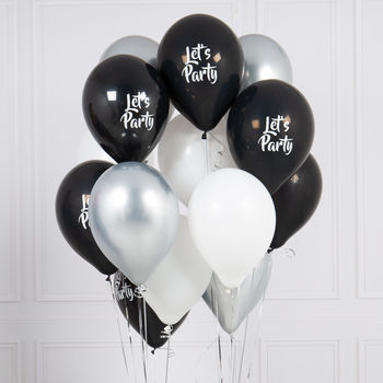 Pack Of 14 Monochrome Let's Party Balloons