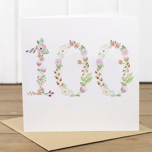 100th Watercolour Floral Card - birthday cards
