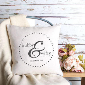 'Hubby And Wifey' Cushion Cover - 2nd anniversary: cotton
