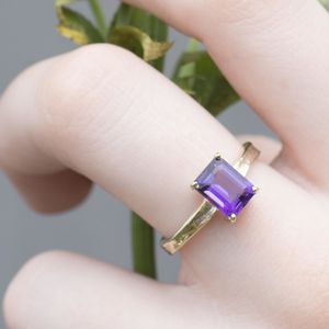 Solid 9ct Gold Amethyst Guinevere Ring - engagement rings