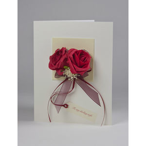Personalised Red Roses 3D Greetings Card - wedding cards