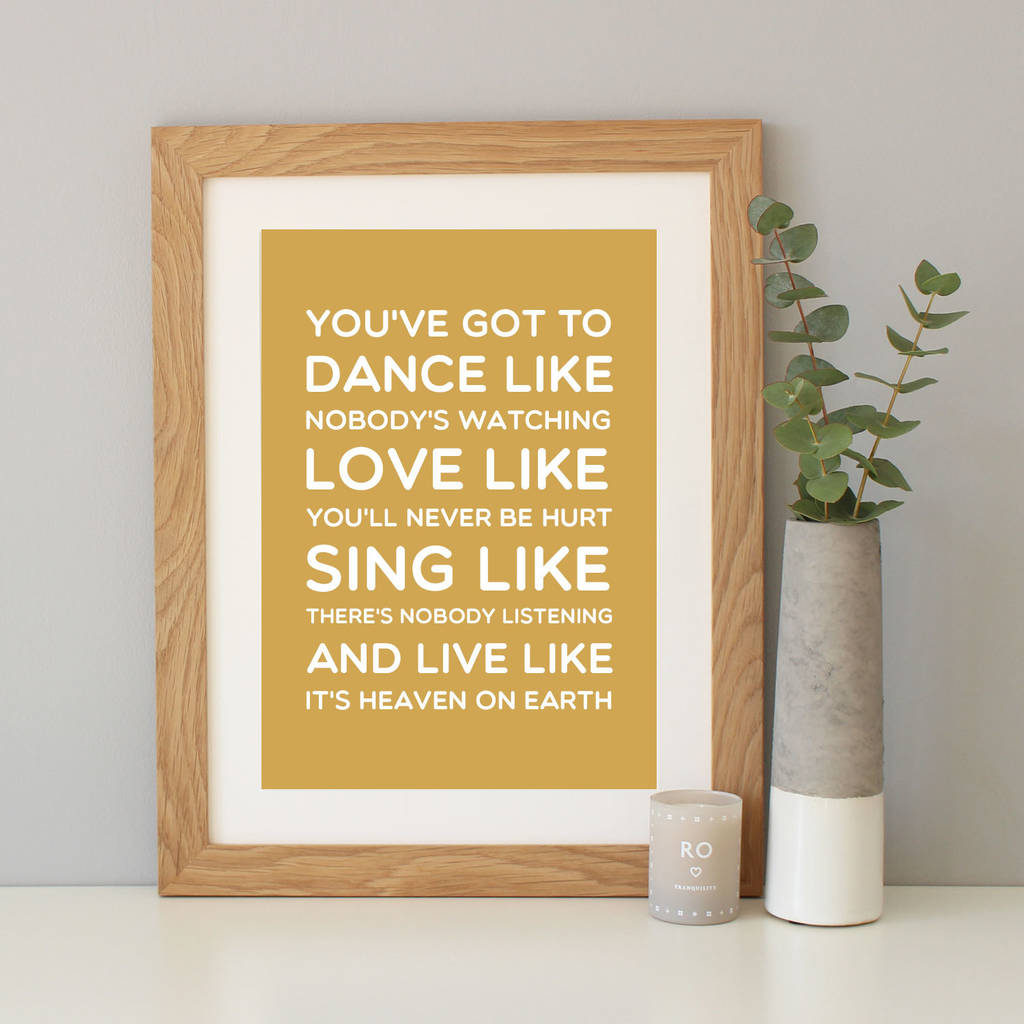dance like\' inspirational quote print by hope and love ...