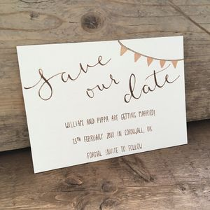 Metallic Bunting Save The Date Card - save the date cards