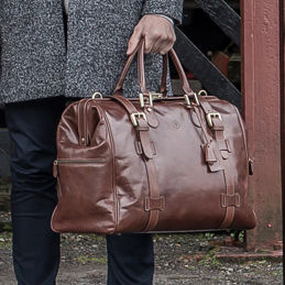 Classic Leather Gladstone Bag 'The Gassano' - for travel-lovers