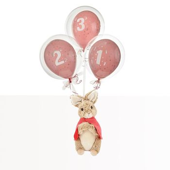 Pink Birthday Bubble Balloon With Flopsy Bunny Soft Toy